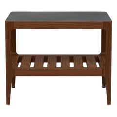 Customizable Walnut Side Table with Silver Oxide Brass Top by Munson Furniture