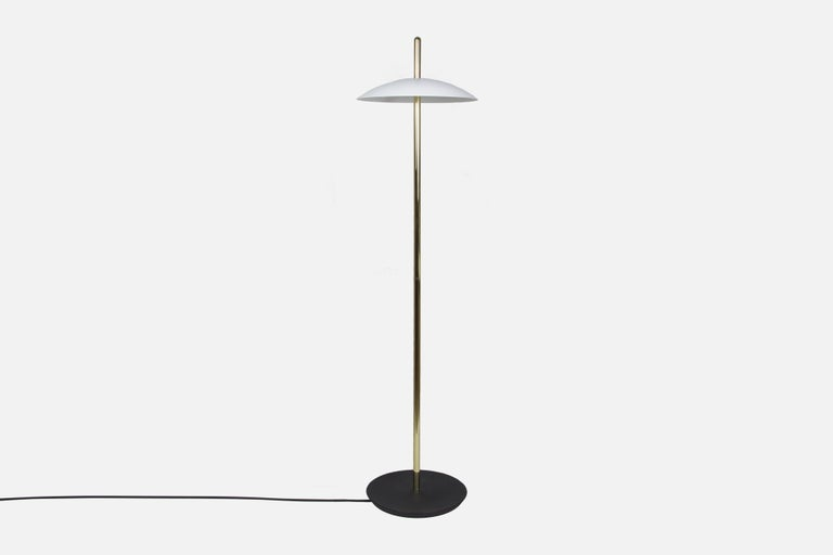 Machine-Made Customizable White and Copper Signal Floor Lamp from Souda, Made to Order For Sale