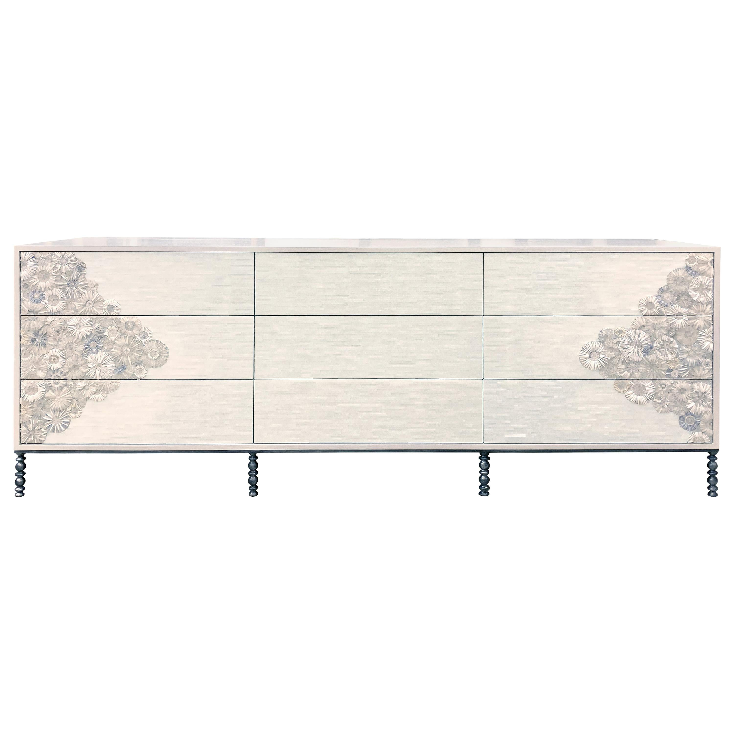 Customizable White Blossom Flower Glass Mosaic 9-Chest of Drawer by Ercole Home