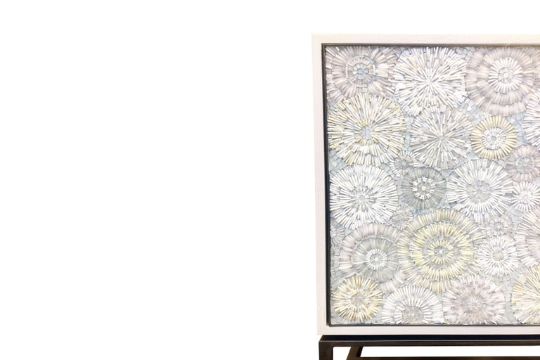 Modern Customizable White Blossom Glass Mosaic Buffet with Metal Base by Ercole Home For Sale