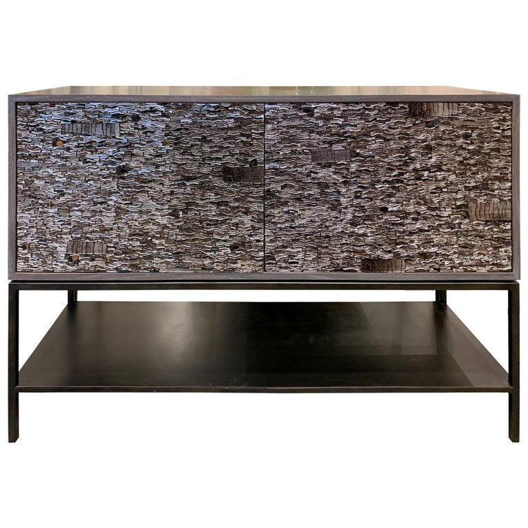 American Customizable White Blossom Glass Mosaic Buffet with Metal Shelf by Ercole Home For Sale