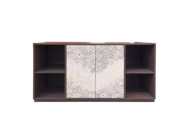 American Customizable White Blossom Glass Mosaic Nightstand, Metal Base by Ercole Home For Sale
