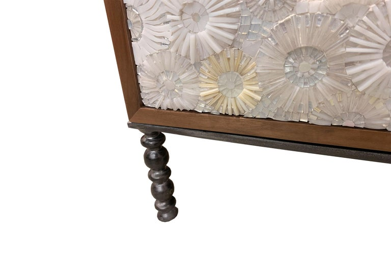 Hand-Crafted Customizable White Blossom Glass Mosaic Walnut Buffet by Ercole Home For Sale