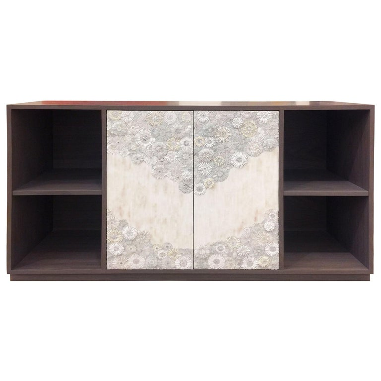 Customizable White Blossom Glass Mosaic Walnut Buffet by Ercole Home In New Condition For Sale In New York, NY