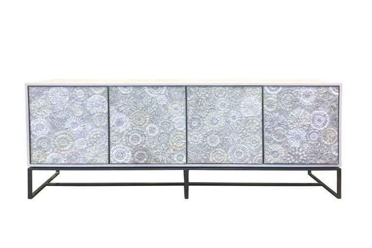 Contemporary Customizable White Blossom Glass Mosaic Walnut Buffet by Ercole Home For Sale