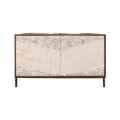 Customizable White Blossom Glass Mosaic Walnut Buffet by Ercole Home