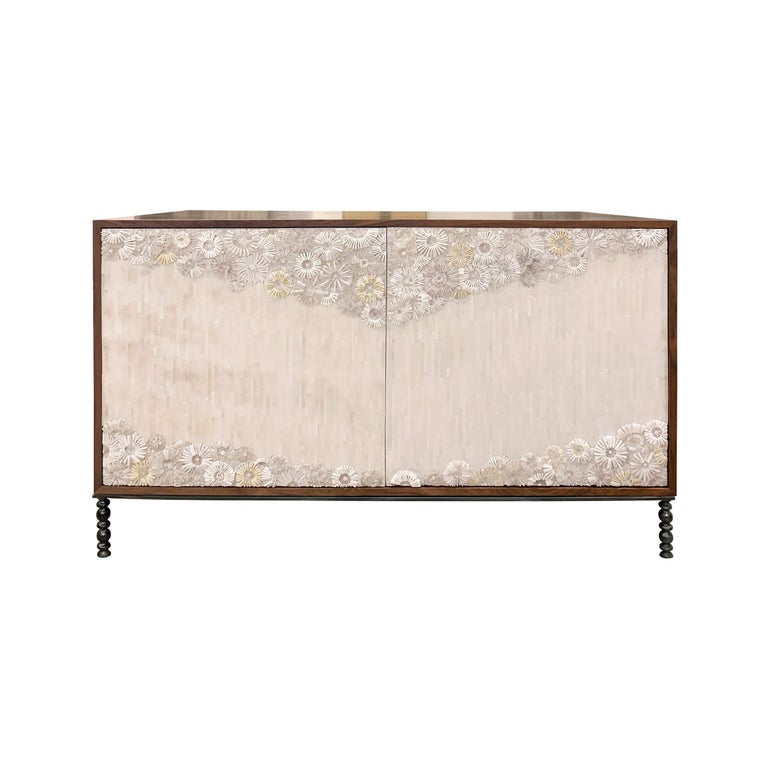 Customizable White Blossom Glass Mosaic Walnut Buffet by Ercole Home For Sale