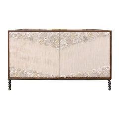 Customizable White Blossom Glass Mosaic Walnut Buffet by Ercole Home
