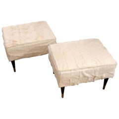 Customizable White Fur Black Legs Bronze Endings Stools or Benches 1950s Style