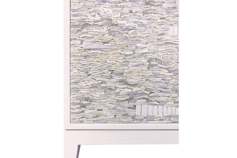 Modern Customizable White Milano Buffet in Ravenna Glass Mosaic by Ercole Home For Sale
