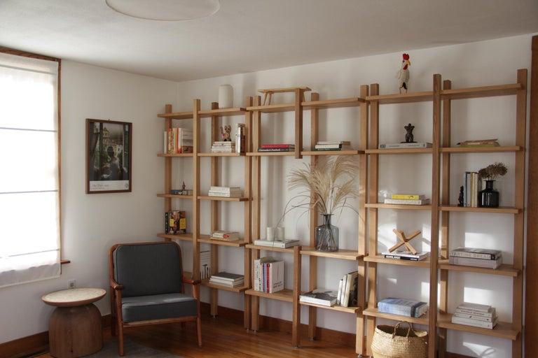 Customizable White Oak Minimal Bookshelf by SinCa Design For Sale 3