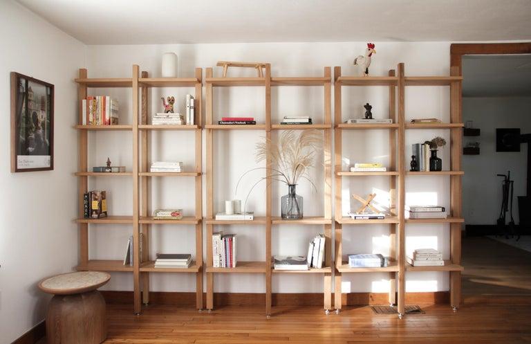 Customizable White Oak Minimal Bookshelf by SinCa Design For Sale 4