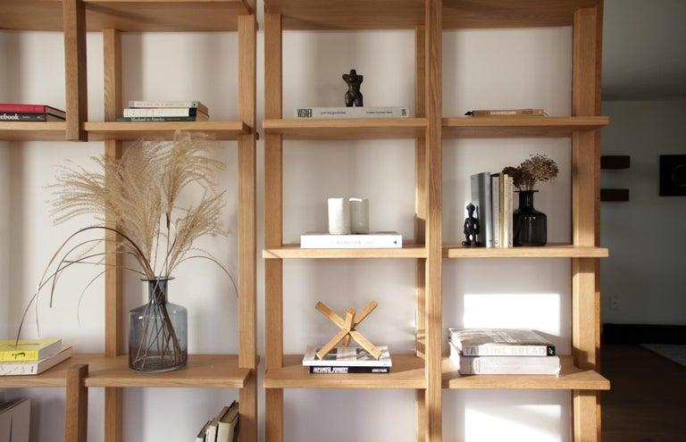 Customizable White Oak Minimal Bookshelf by SinCa Design For Sale 5