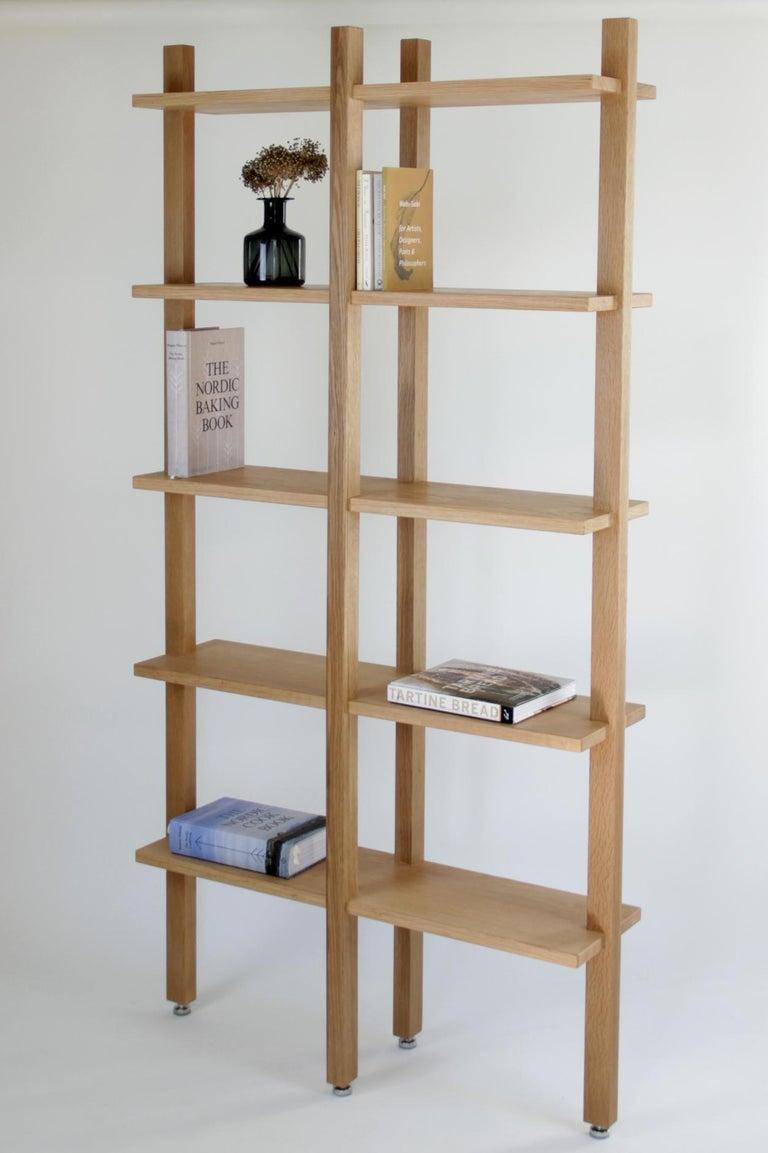 Modern Customizable White Oak Minimal Bookshelf by SinCa Design For Sale