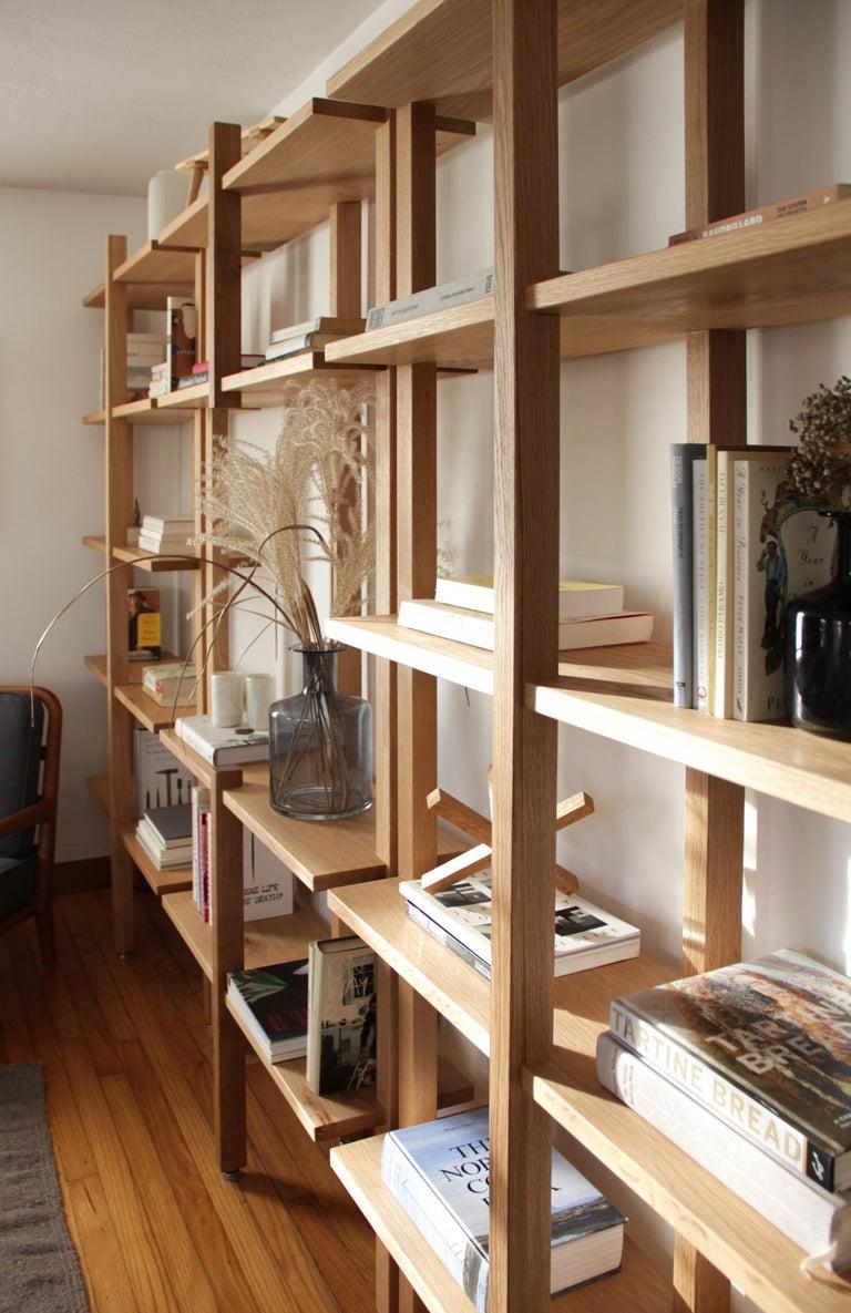 American Customizable White Oak Minimal Bookshelf by SinCa Design For Sale