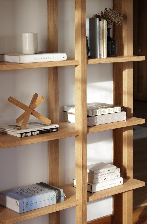 Woodwork Customizable White Oak Minimal Bookshelf by SinCa Design For Sale