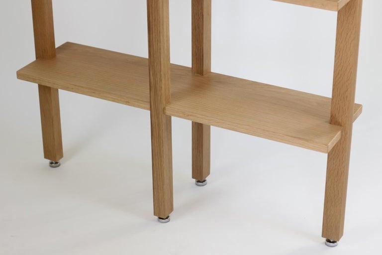 Contemporary Customizable White Oak Minimal Bookshelf by SinCa Design For Sale