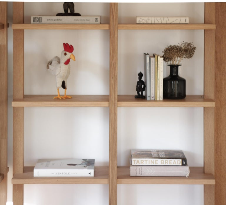 Customizable White Oak Minimal Bookshelf by SinCa Design For Sale 2