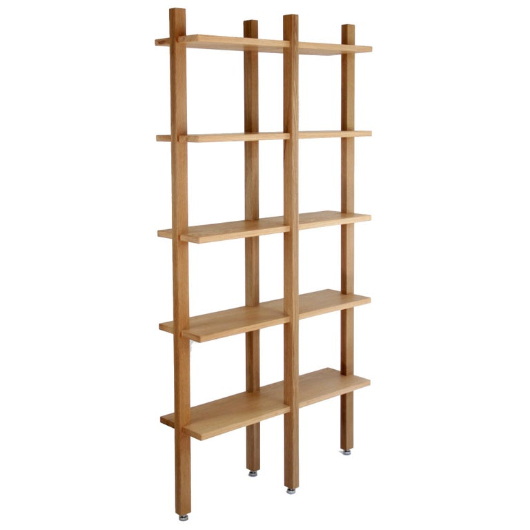 Customizable White Oak Minimal Bookshelf by SinCa Design For Sale