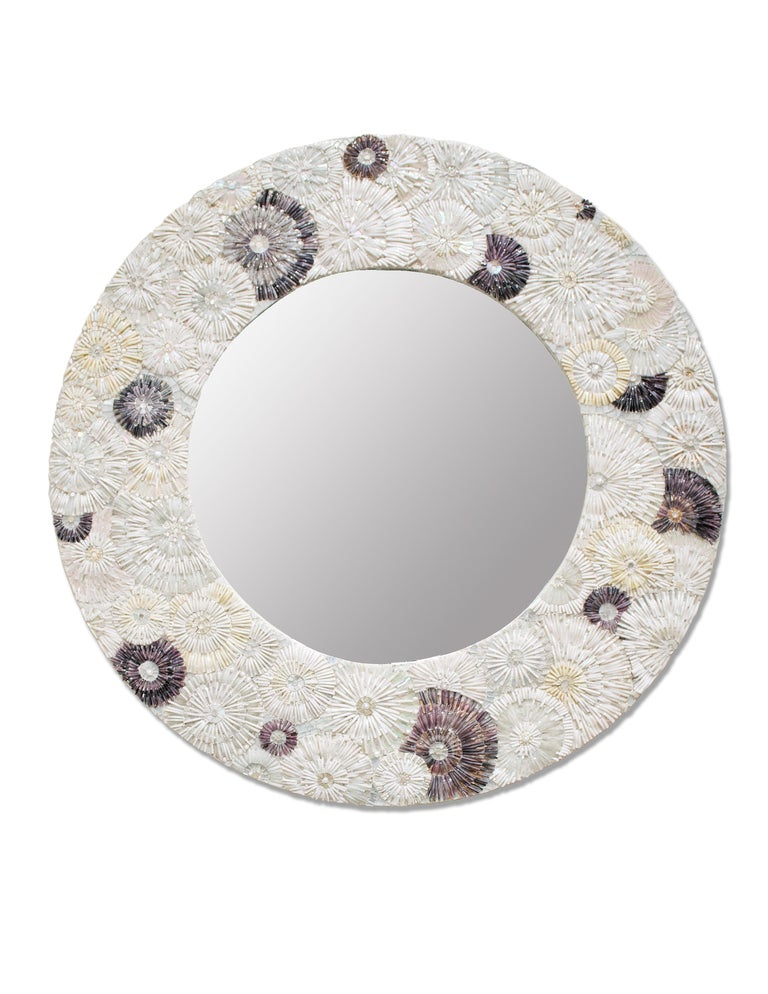 Modern Customizable Whtie Blossom Glass Flower Mosaic Oval Mirror by Ercole Home For Sale