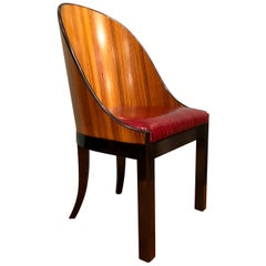 Customizable Zebrano Wood Red Leather Seats and Black Details Saber Legs Chairs