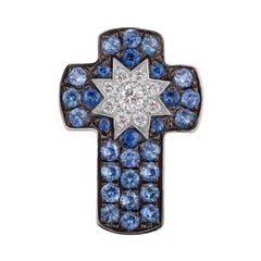 Customize Cross Blue Sapphire Diamond White Gold Pendant