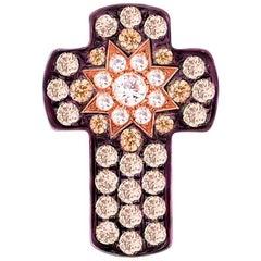 Customize Cross Cognac Diamond Yellow Gold Pendant
