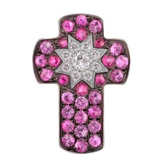 Customize Cross Pink Sapphire Ruby Diamond White Gold Pendant