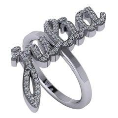 Customize Diamond Gemstone Name Ring White Yellow Rose Gold