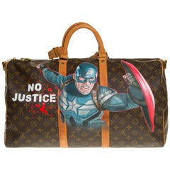 """Customized """"Captain America"""" Louis Vuitton Keepall 50 travel bag in brown canvas"""