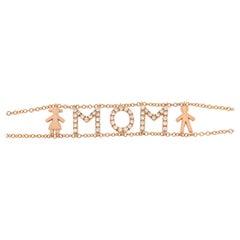 Customized Gold Diamond Bracelet 18 Karat, Letters, Symbols, of Your Choice