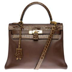 Customized Hermès Kelly 28 in brown calfskin strap with brown Crocodile, GHW