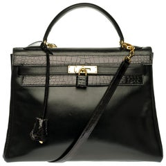 Customized Hermès Kelly 32 in black calfskin strap with black Crocodile, GHW