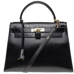 Customized Hermès Kelly 32 in black calfskin strap with black Crocodile, GHW