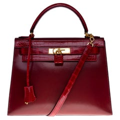 Customized Hermès Kelly 32 in Rouge H calfskin strap with Red Crocodile, GHW