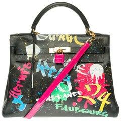 Customized Hermès Kelly 32cm handbag with strap in black epsom leather, GHW