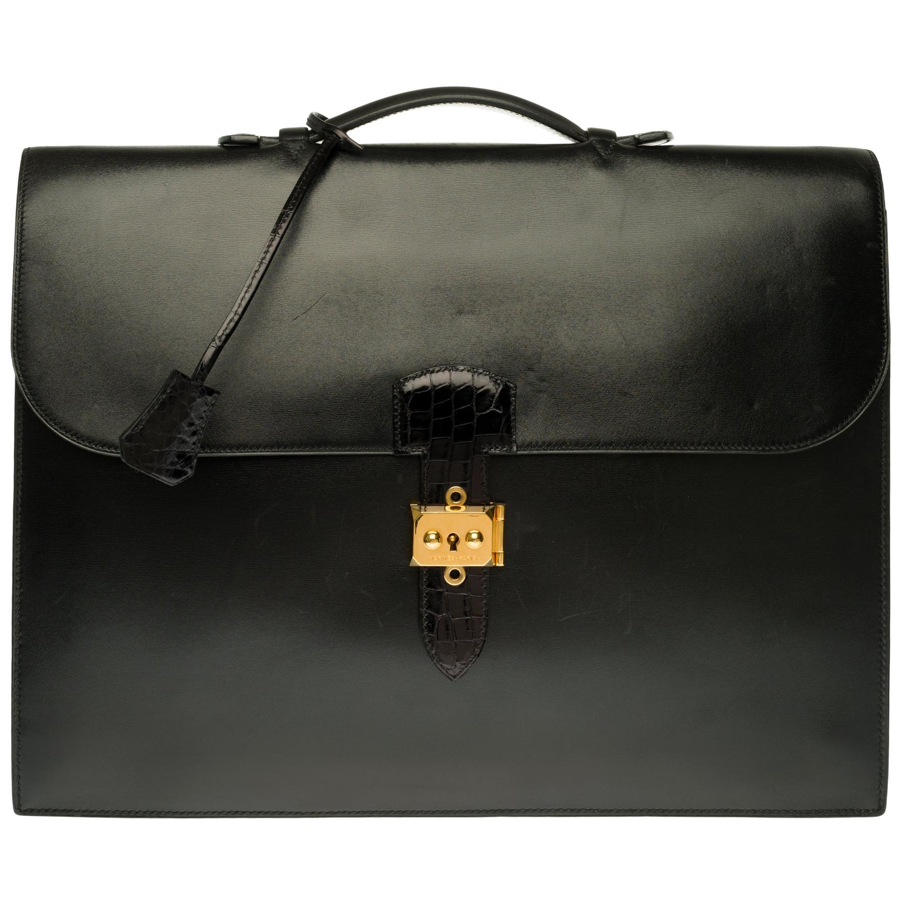 Customized Hermès Sac à dépêches briefcase in black calf and crocodile leather