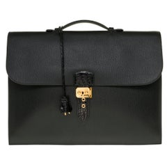 Customized Hermès Sac à dépêches briefcase in black togo and crocodile leather