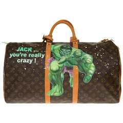 "Customized ""Hulk Vs Shining"" Louis Vuitton Keepall 55 travel bag in brown canvas"
