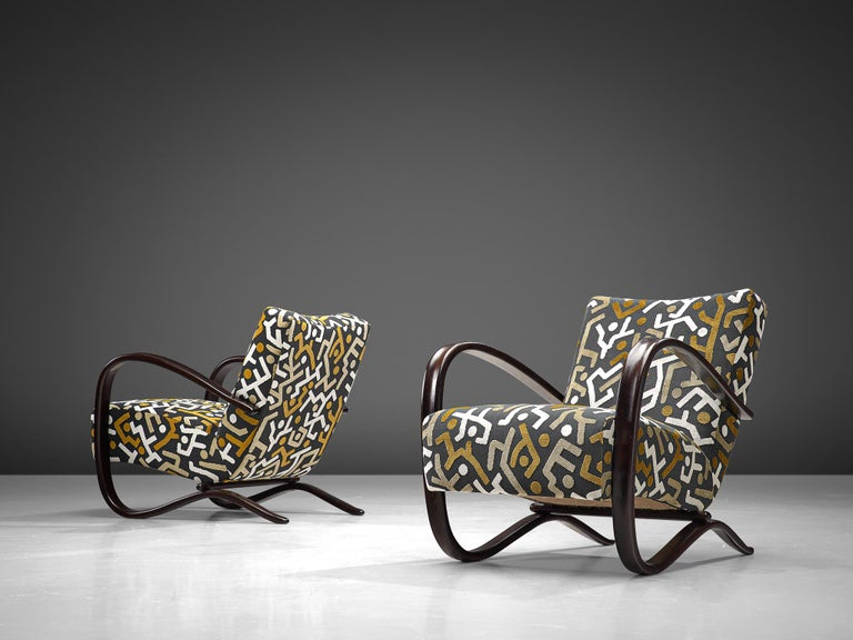 Mid-Century Modern Customized Jindrich Halabala Lounge Chairs, Czech Republic 1930s
