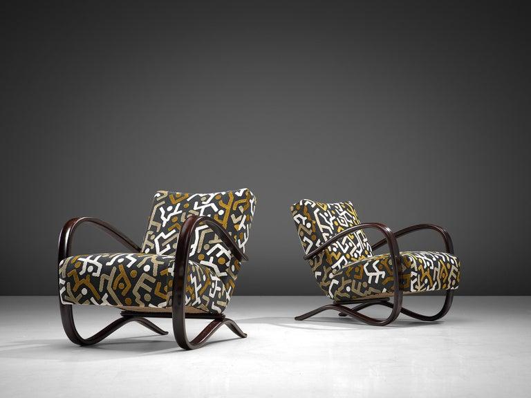 Mid-20th Century Customized Jindrich Halabala Lounge Chairs, Czech Republic 1930s