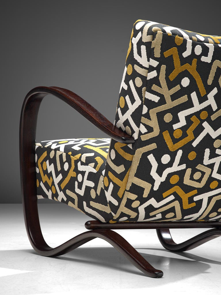 Customized Jindrich Halabala Lounge Chairs, Czech Republic 1930s 1
