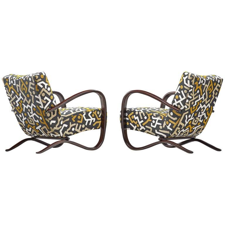 Customized Jindrich Halabala Lounge Chairs, Czech Republic 1930s