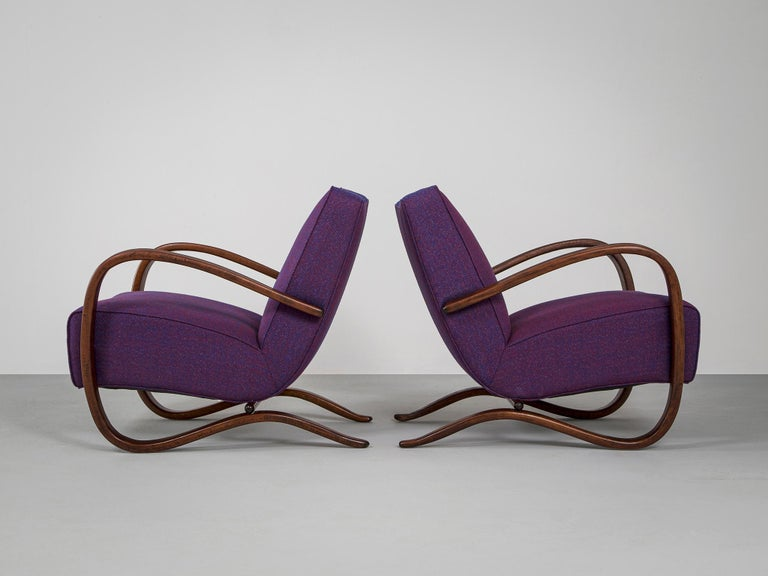 Customized Jindrich Halabala Lounge Chairs In Good Condition In Waalwijk, NL