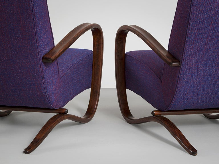 Fabric Customized Jindrich Halabala Lounge Chairs