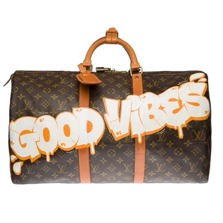 Exceptional Louis Vuitton Keepall travel bag 50 cm in brown monogram canvas and customized natural leather
