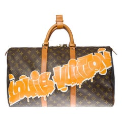 """Customized """""""" Louis Vuitton Good Vibes"""" Keepall 50 Travel bag in brown canvas"""