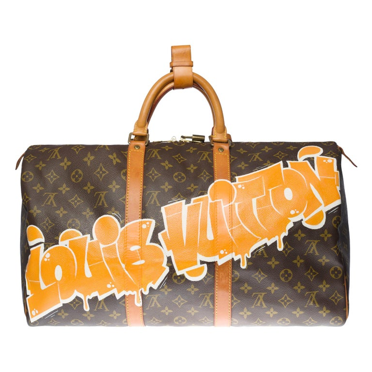 """Customized """""""" Louis Vuitton Good Vibes"""" Keepall 50 Travel bag in brown canvas For Sale"""