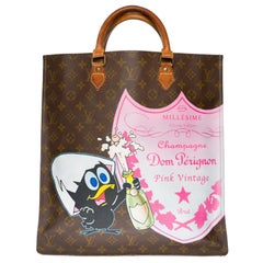 """Customized Louis Vuitton Plat """"Calimero & Champagne Bubbles"""" in brown canvas"""