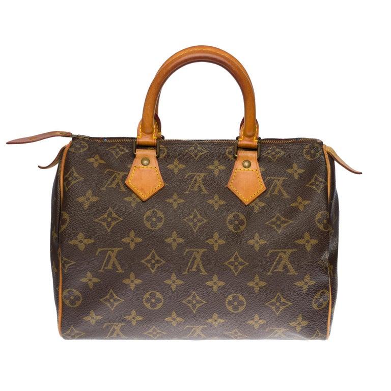 Beautiful Louis Vuitton Speedy 25 handbag in customized Monogram canvas